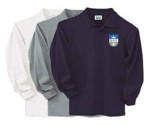 Unisex Long Sleeve Pique Polo Shirt with Embroidered QAS Logo queen of all saints uniforms, qas uniforms, qas polo, qas knit, qas knits, queen of all saints shirts,