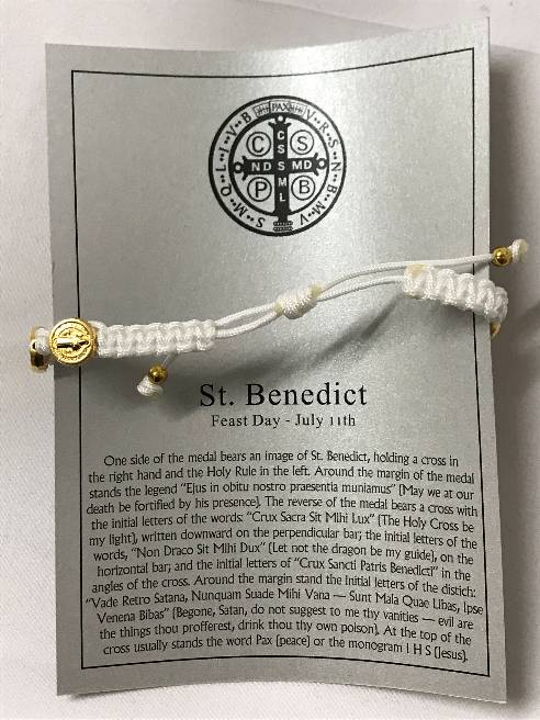 White/Gold Benedictine Bracelet bracelet, blessing bracelet, medjugorje bracelet, st benedict bracelet, colored bracelet, handmade bracelets, girl gift, boy gift, sacramental gift, healing gift, prayer gift, first communion gift, reconciliation gift, confirmation gift, graduation gift, quantity discounts,