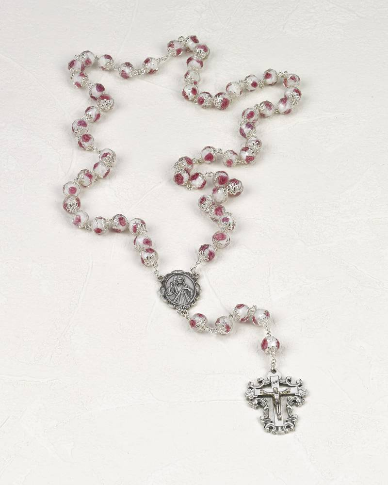Year of Mercy Rosary, Crystal with Rose Design pope francis, year of mercy, mercy rosary, crystal rosary