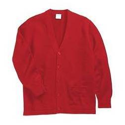 V-Neck Cardigan with Pockets, Red