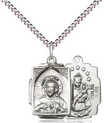 "Sterling Silver Rectangular Scapular Pendant on 18"" Chain"