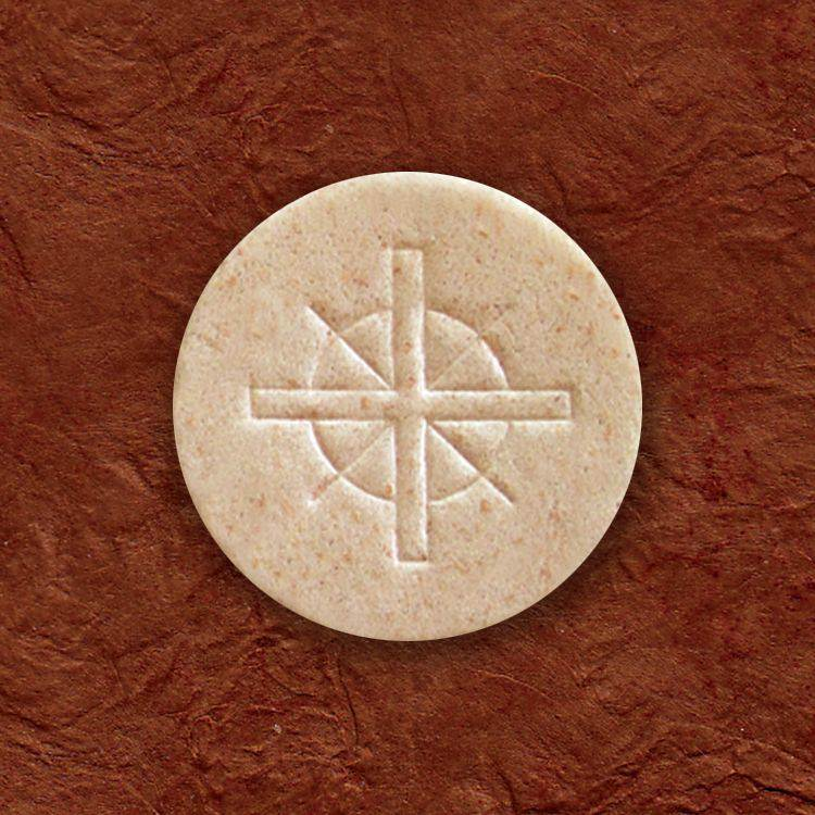 "1 1/2"" Whole Wheat Host-Cross Design host, church hosts, church breads, altar breads, hosts for church, communion wafers, church wafers, first holy communion wafers, cavanaugh communion wafers, cavanaugh wafers, cavanaugh hosts, altar bread, altar wafers, catholic church hosts"