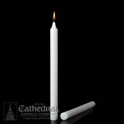 "1-1/2"" x 12"" Stearine Brand White Molded Candles"