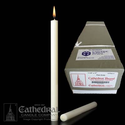 "1-1/4"" x 17"" Beeswax Altar Candles"