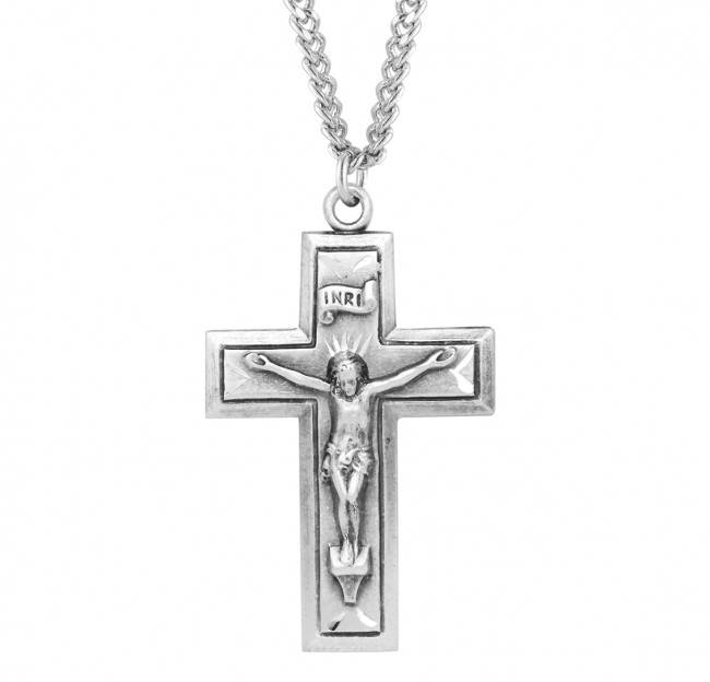 "Engraved Sterling Crucifix On 24"" Chain"