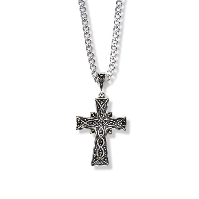 "1.125"" Sterling Silver and Marcasite Stones Flared Cross Necklace"