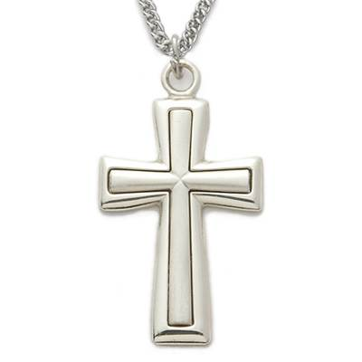 "1.25"" Sterling Silver Men's Flare Satin Cross Necklace"