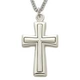 "1.25"" Sterling Silver Mens Flare Satin Cross Necklace"