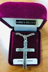 "1.5"" Sterling Silver Cross Necklace with Lords Prayer on Back"