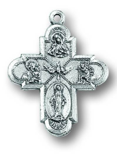 "1"" Four-Way Cross Oxidized Medal"