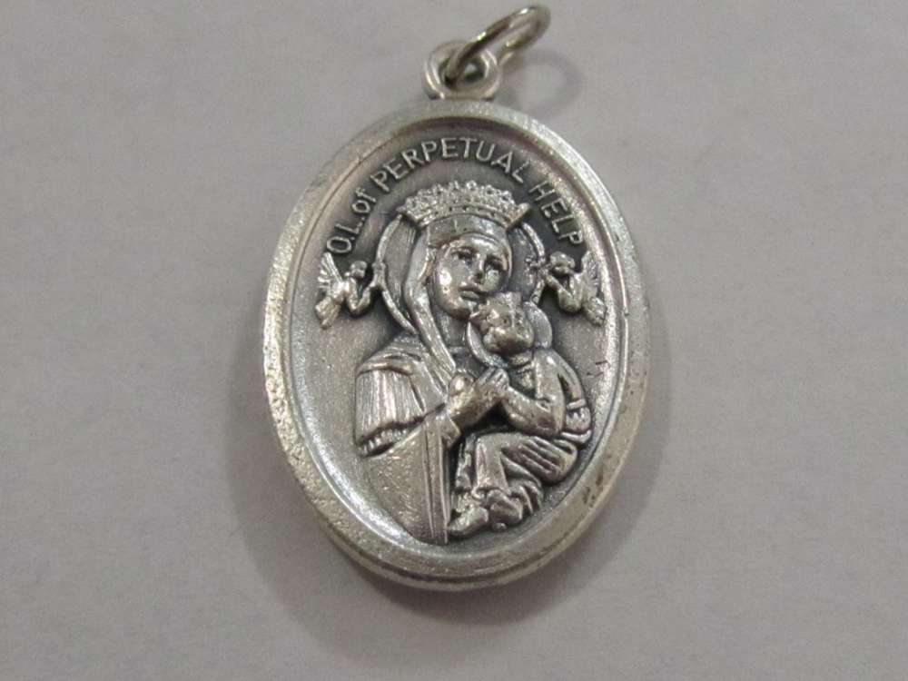"1"" Our Lady of  Perpetual Help Oxidized Medal"