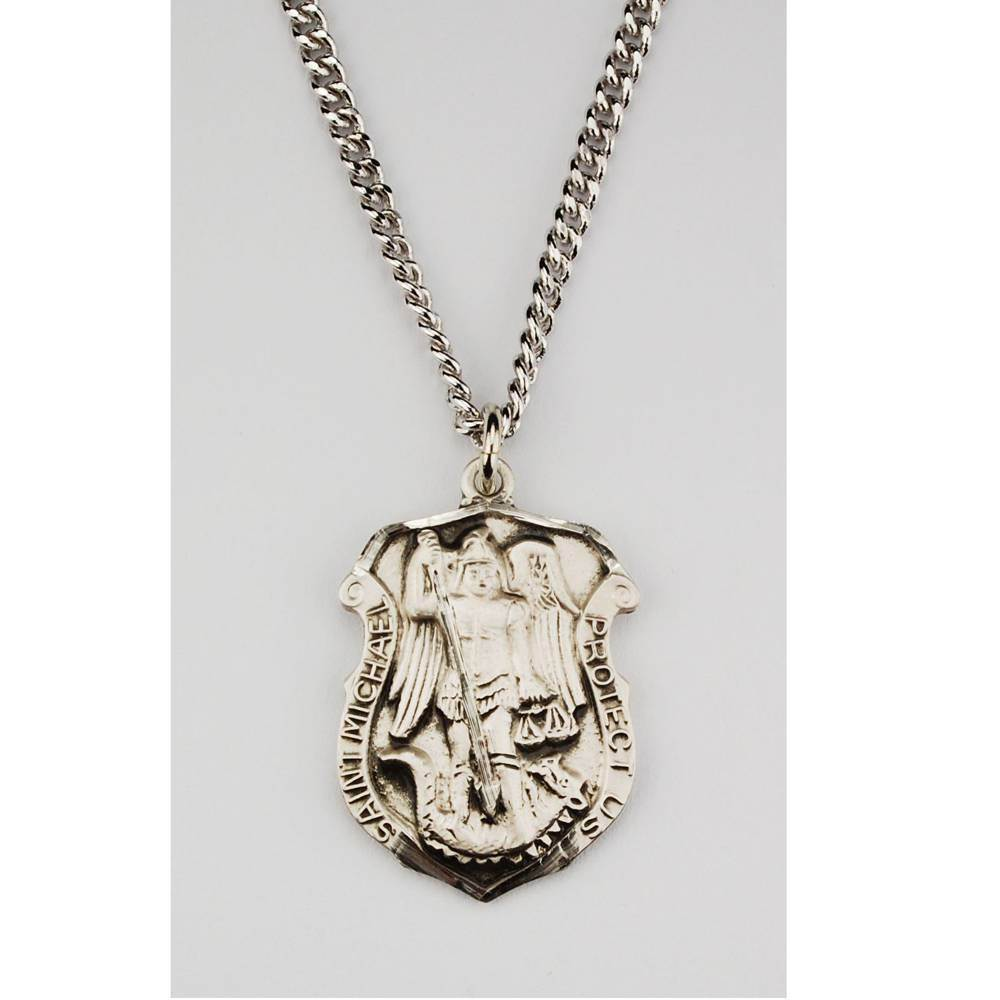 "1"" St. Michael Police Badge Necklace"