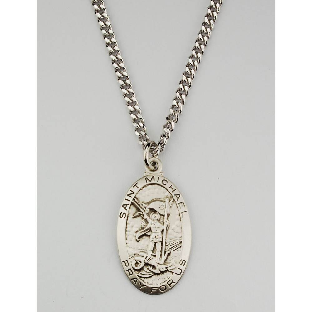 "1"" St. Michael Oval Necklace"