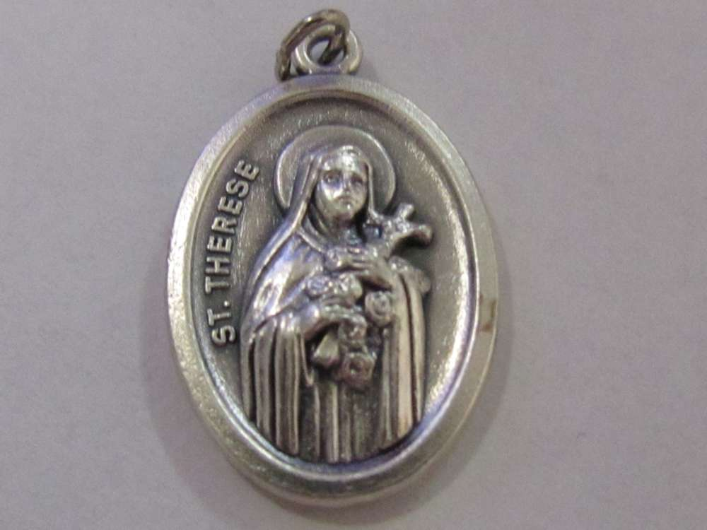 "1"" St. Theresa Of The Flower Oxidized Medal Patron saint, medals, oxidized medal,1"" medal, medal only, sacramental gift, special occasion gift,"