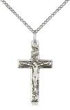 · 1 inch x 1/2 inch Sterling Silver Crucifix Medal. · Chain is 18 Inches in length Sterling Silver Light Curb Chain with Lobster Claw Clasp. ?Made in the USA