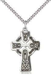 "1"" Sterling Silver Celtic Cross on 18"" Stainless Chain"