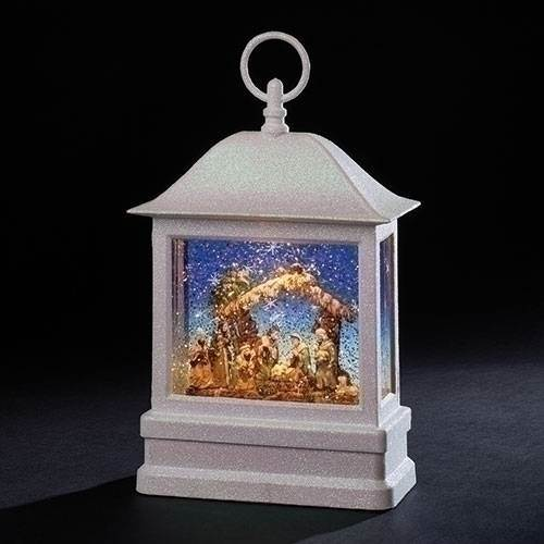 "10.5"" tall LED Holy Family Nativity Christmas Lantern with continuous confetti swirl motion with the waterglobe effect. Batteries not included. Resin/Plastic; Measures 10.375"" tall x 6.75"" wide x 3.25"" deep. Gift Boxed."