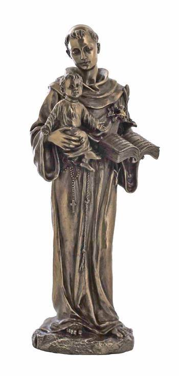 St. Anthony and Child in cold-cast bronze, 10.5 inches.