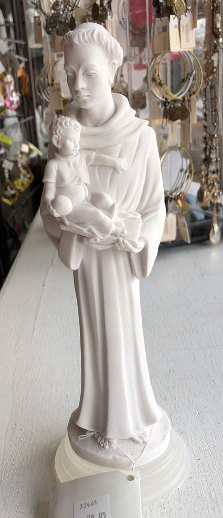 "10.5"" St Anthony with Child Statue from Italy Marble Resin"