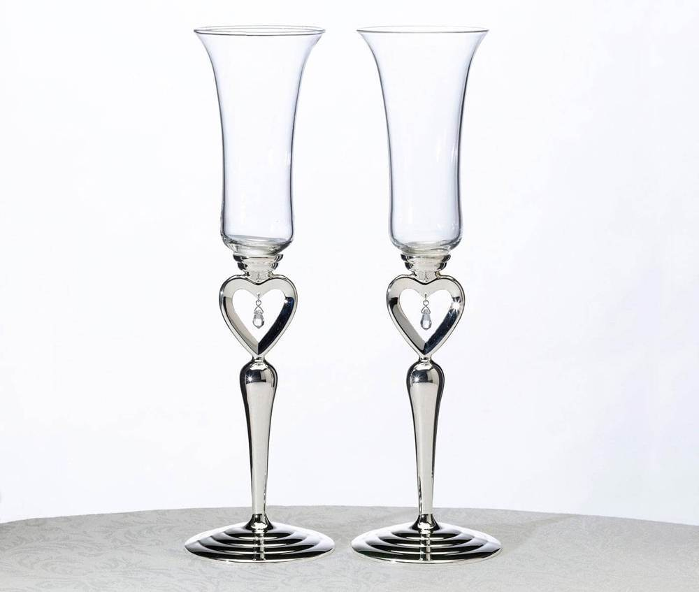 "10.5"" Toasting Glasses With Dangling Jewel"