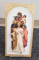"10"" Jesus with the Children Full Color Wall Plaque from Italy Wood Carved from Lindenwood"