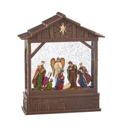 "10"" Nativity in Musical Lighted Water Creche"