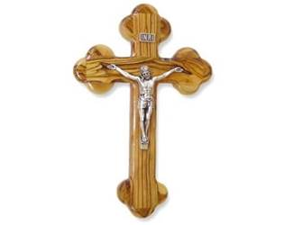 "10"" Olive Wood Wall Cross with Crucifix"