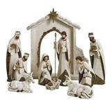 10 Piece Stone Finish Nativity Set with Stable