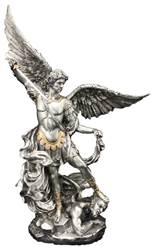 "10"" St Michael Statue Pewter Style Finish"