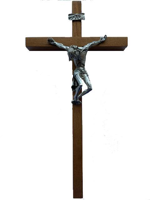 "10"" Walnut Wall Crucifix with Pewter Corpus"