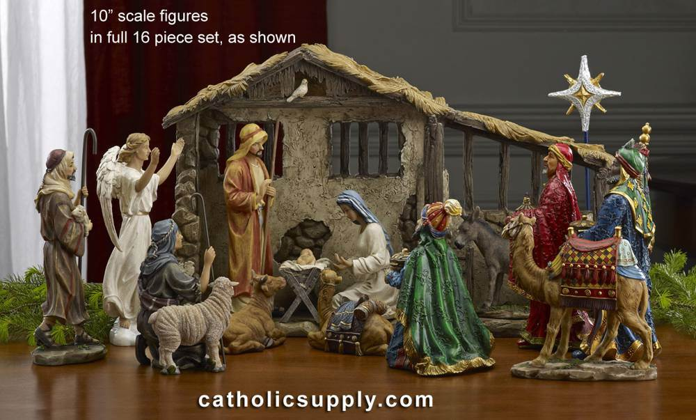 10 inch Full 16pc First Christmas Gifts Nativity Set