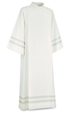 100-77 Front Wrap Alb in Greco Fabric-White Embroidery