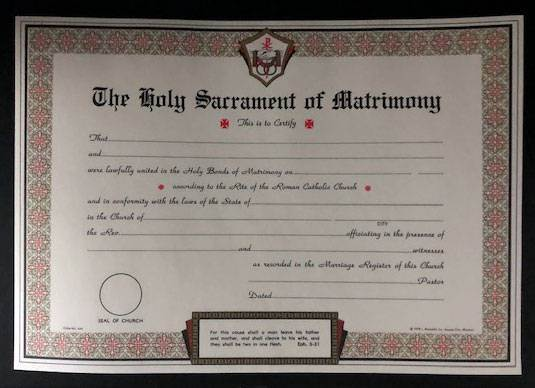 Marriage Certificate Pad, 50 Sheets