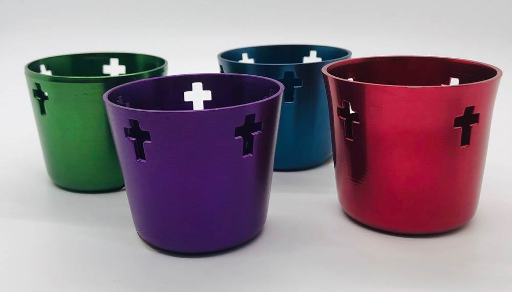 10Hr Purple Metal Votive Candl Holder W/Cross Cut-Outs