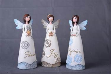 "11.25"" Assorted Lace Wing Angel Figurines"