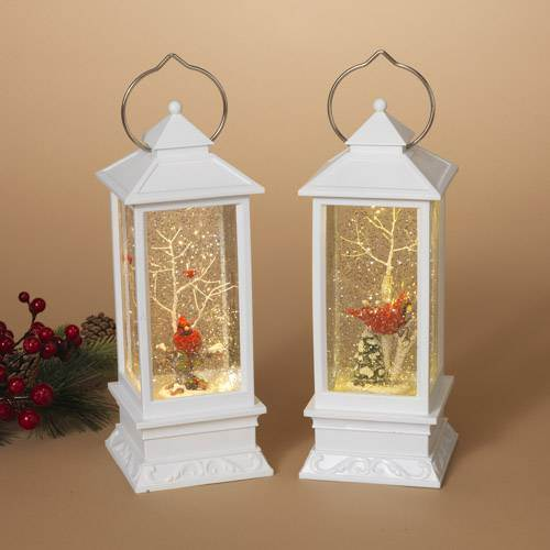 "10.8""H B/O Lighted Spinning Water Lantern w/ Winter Scene & Cardinal"