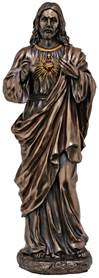"Sacred Heart Of Jesus 11"" Lightly Painted Cold Cast Bronze Statue"