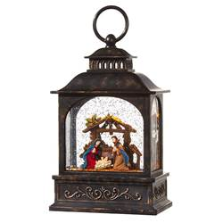 "8.5 "" NATIVITY LIGHTED WATER LANTERN Requires 3 AA Batteries 6 Hour Timer, Repeats Every 18 Hours Continuous Swirling Glitter, Gently Flip To Loosen Glitter, To Avoid Damage Do Not Shake"