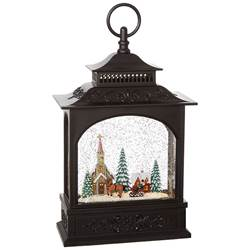 "11 "" TOWN SCENE LIGHTED WATER LANTERN"
