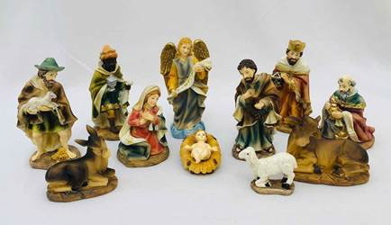 "11pc 4.5"" Heavens Majesty Nativity Figure Set"