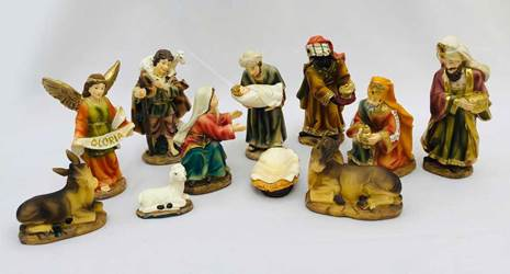 11pc Heavens Majesty Nativity Figure Set-With Holding Jesus!