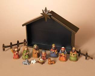 11pc Resin Nativity In Metal Stable