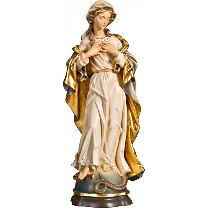 "12"" Baroque Blessed Virgin Color Wood Carved Made In Italy"