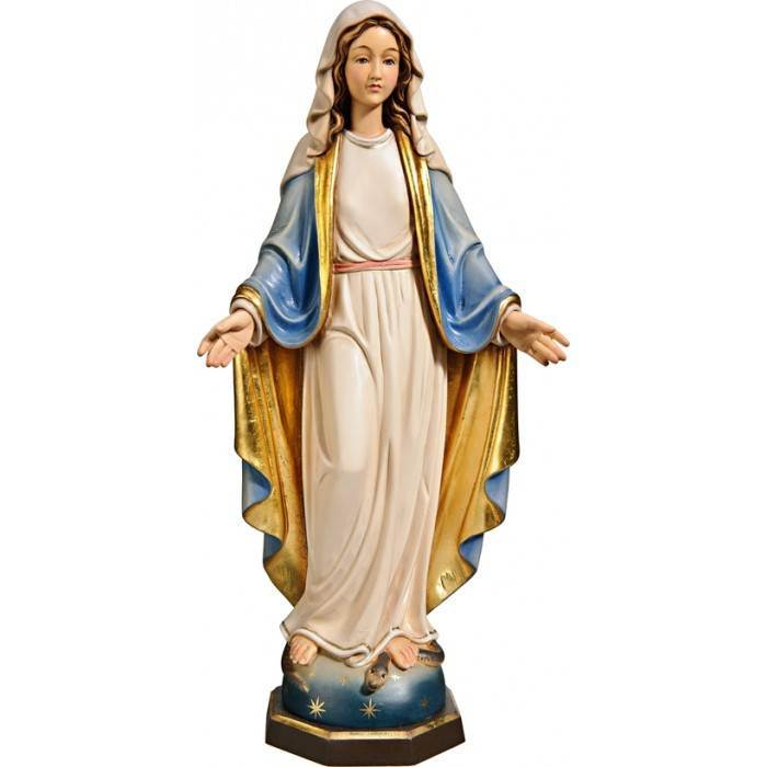 "12"" Blessed Virgin Statue Color Wood Carved Made In Italy"