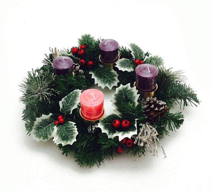 "12"" Decorated Evergreen Advent Wreath advent wreath, advent candle holder, advent candleholder, taper candle holder, advent season candle holder, seasonal wreath for candles,"