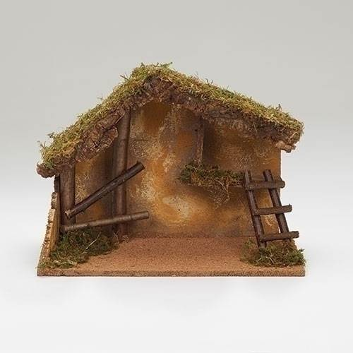"12"" Italian Stable for 7.5"" Fontanini Nativity Figures  Fontanini Stable, 11.6"" tall x 16.73"" wide x 9"" deep Italian stable accommodates 7.5"" to 8"" tall nativity pieces. Wood stable with moss and bark."
