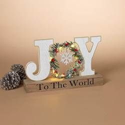 "11.6-Inch Long Battery Operated Lighted Wooden ""JOY"" Tabletop Décor with Floral Accent and Timer"