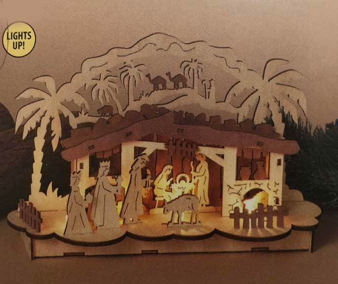"12""L Battery Operated Wood Tabletop Nativity Scene; Requires 2 ?AA Batteries, not included."