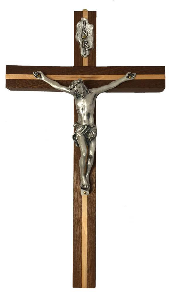 "12"" Mahogany and Pine Wall Crucifix from Italy"