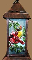 "12"" Metal/Glass Bird Lanterns"